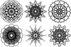 Grupo de seis formas circulares do spirograph Elementos do projeto Fotos de Stock