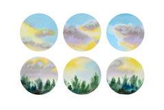Grupo de seis formas do círculo da aquarela ilustração stock