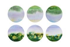 Grupo de seis formas do círculo da aquarela ilustração do vetor