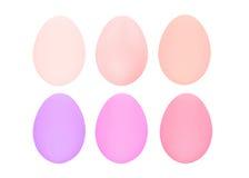 Grupo de seis ovos da páscoa isolados no fundo branco para o dia feliz de easter do projeto Foto de Stock