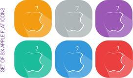 Grupo de seis projetos lisos Apple Logo Icons Vectors imagem de stock royalty free
