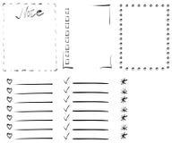 Grupo de seis quadros para um caderno Fotografia de Stock
