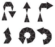 Grupo de seis setas pretas dos polígono Fotografia de Stock
