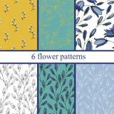 Grupo de seis testes padrões de flor sem emenda com campainhas Fotos de Stock Royalty Free