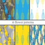 Grupo de seis testes padrões de flor sem emenda com lupines Imagens de Stock Royalty Free
