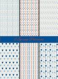 Grupo de seis testes padrões sem emenda com folha e flores da mola Fotografia de Stock Royalty Free