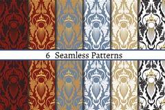 Grupo de seis testes padrões sem emenda do estilo barroco Imagens de Stock Royalty Free