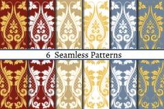 Grupo de seis testes padrões sem emenda do estilo barroco Foto de Stock Royalty Free