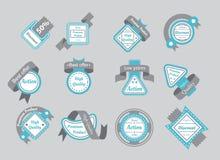 Grupo de selos cianos com fitas cinzentas Fotografia de Stock