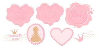 Grupo de selos cor-de-rosa bonitos do vetor ilustração do vetor