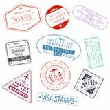 Grupo de selos do passaporte do visto Carimbos de borracha internacionais do sinal das chegadas ilustração royalty free