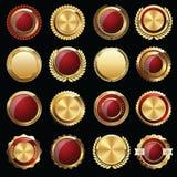 Grupo de selos e de crachás do certificado do ouro Fotografia de Stock Royalty Free