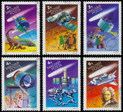 Grupo de selos impressos por Hungria, o cometa de Halley das mostras imagens de stock