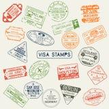 Grupo de selos isolados do passaporte do visto ilustração do vetor