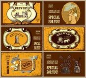 Grupo de selos postais com etiquetas diferentes da cerveja Imagens de Stock Royalty Free