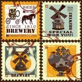 Grupo de selos postais para o tema da cerveja Fotos de Stock