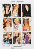 Grupo de selos que mostram nove selos com imagens de Diana Princess de Gales Fotografia de Stock Royalty Free