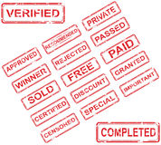 Grupo de 17 selos vermelhos ilustração royalty free