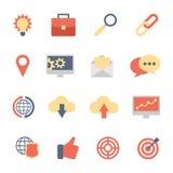 Grupo de SEO e de ícones lisos do desenvolvimento Fotografia de Stock Royalty Free
