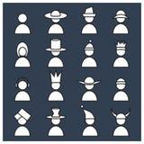 Grupo de ser humano com ícones da mantilha dos differents Isolado no fundo colorido à moda ilustração stock