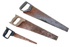 Grupo de serras de fender oxidadas velhas fotos de stock royalty free