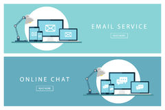 Grupo de serviço de correio eletrónico liso dos conceitos de projeto e de bate-papo em linha Bandeiras para o design web, o merca Fotos de Stock Royalty Free