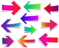 Grupo de setas coloridas retas Fotografia de Stock