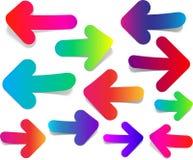 Grupo de setas coloridas retas Imagem de Stock Royalty Free