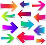 Grupo de setas coloridas retas Imagem de Stock