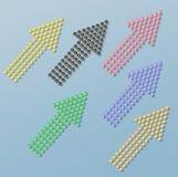 Grupo de setas das pedras coloridas de brilho Fotografia de Stock