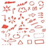 Grupo de setas desenhadas mão Imagem de Stock Royalty Free