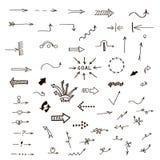 Grupo de setas desenhados à mão Imagens de Stock Royalty Free