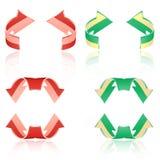Grupo de setas geadas. Vermelho, verde Imagens de Stock Royalty Free