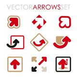 Grupo de setas lisas do vetor para a marcagem com ferro quente e os ícones Fotografia de Stock Royalty Free