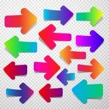 Grupo de setas retas coloridas Fotografia de Stock