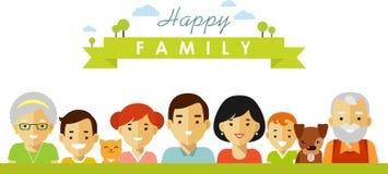 Grupo de sete membros da família felizes no estilo liso ilustração royalty free