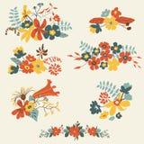 Grupo de sete ramalhetes florais bonitos ilustração do vetor