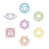 Grupo de sete símbolos do chakra Ioga, meditação Imagem de Stock Royalty Free