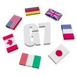 Grupo de siete banderas Imágenes de archivo libres de regalías