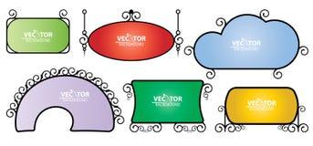 Grupo de signage simples colorido vetor do vintage Imagem de Stock