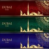 Grupo de silhueta da skyline de Dubai em fundos do vintage Fotos de Stock