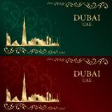 Grupo de silhueta da skyline de Dubai em fundos do vintage Fotografia de Stock Royalty Free