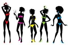 Grupo de silhuetas da mulher no bikin diferente das cores Foto de Stock Royalty Free