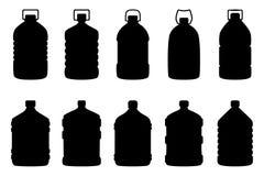 Grupo de silhuetas de garrafas de água grandes Foto de Stock Royalty Free