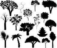 Grupo de silhuetas diferentes das árvores ilustração stock
