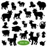 Grupo de silhuetas do animal de exploração agrícola Foto de Stock