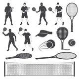 Grupo de silhuetas do equipamento do tênis e do tênis da pá Ilustração do vetor ilustração stock