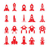Grupo de 20 silhuetas do foguete dos desenhos animados do vetor Foto de Stock Royalty Free