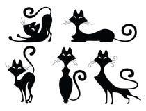 Grupo de silhuetas do gato Fotografia de Stock