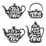 Grupo de silhuetas do potenciômetro do chá com citações Imagens de Stock